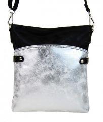 Elegantní malá dámská crossbody kabelka 16216 černo-stříbrná
