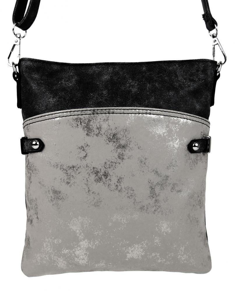 Elegantní malá dámská crossbody kabelka 16216 černá s šedostříbrnou patinou