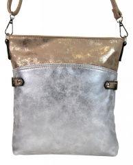 Elegantní malá dámská crossbody kabelka 16216 zlato-stříbrná