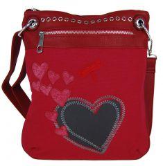 Dámská crossbody kabelka se srdíčky G003 červená