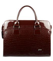 """Dámská luxusní taška na notebook bordó lak kroko ST01 15.6"""" GROSSO"""