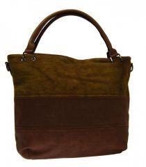 Kávově hnědá dámská kabelka s pruhy AE-0903 New Berry