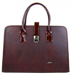 Luxusní dámská bordová aktovka s kapkovou texturou S563 GROSSO
