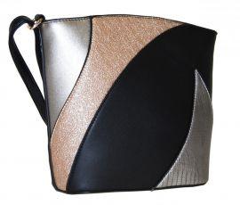 Menší dámská barevná crossbody kabelka F002 černá