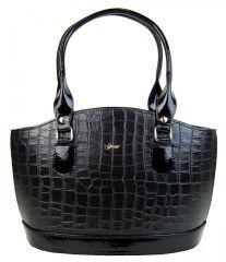 Originální kabelka krokodýl v černém laku S37 GROSSO