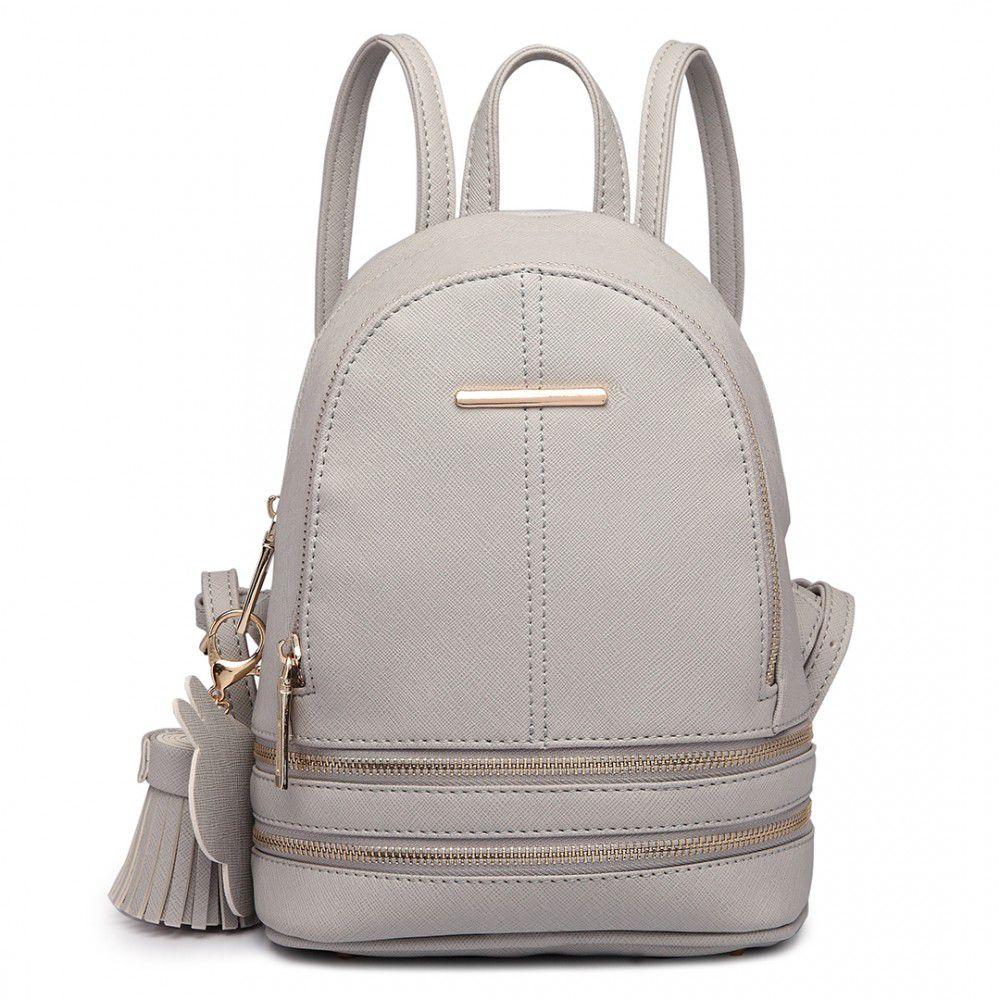 Roztomilý šedý designový dámský batůžek Miss Lulu