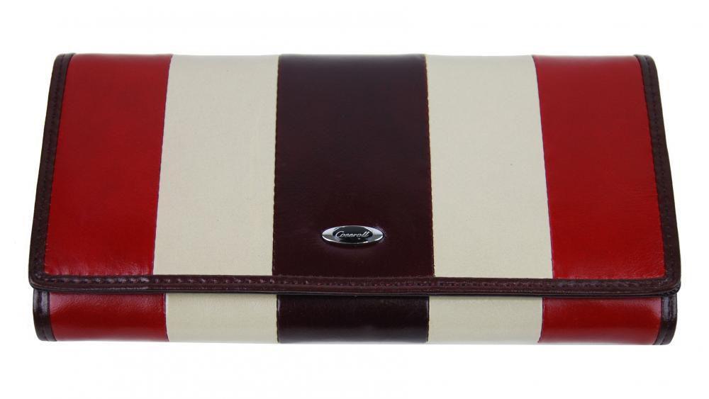 Luxusní bordová kožená dámská magnetická peněženka v krabičce Cossroll 261-9813B