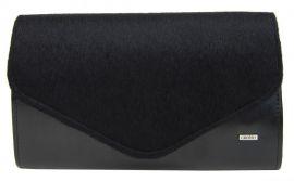 Černá matná chlupatá společenská clutch kabelka SP102 GROSSO