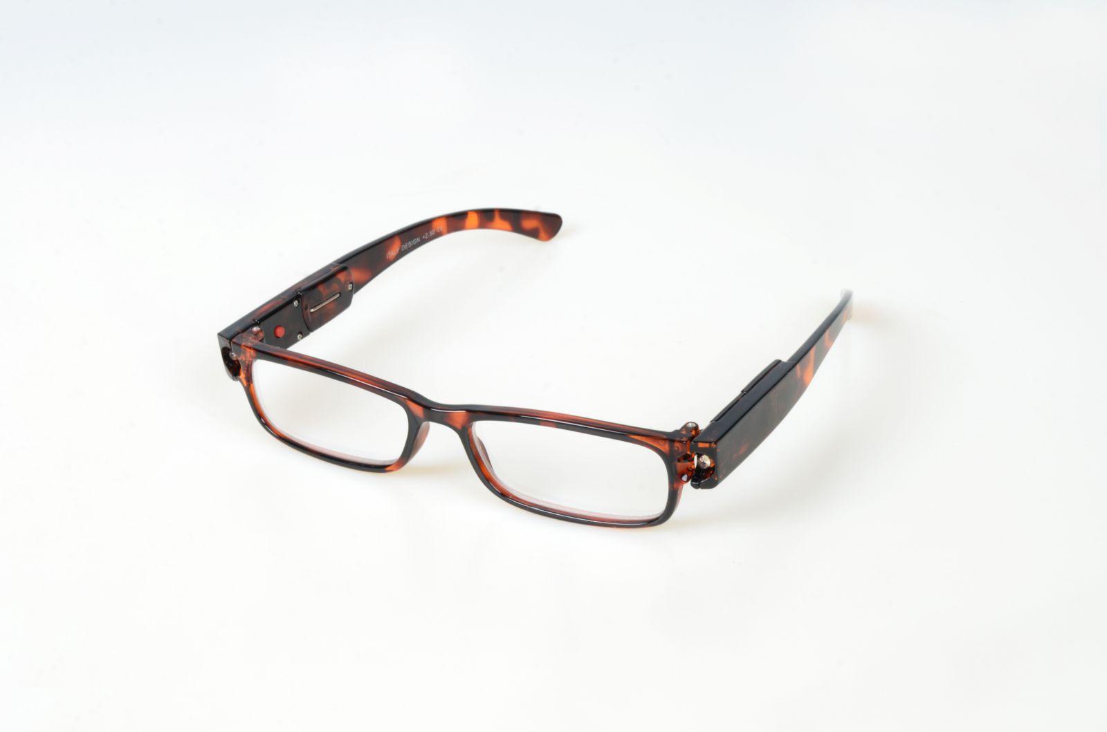 Dioptrické brýle se světýlkama +2,00 hnědé obruby E-batoh