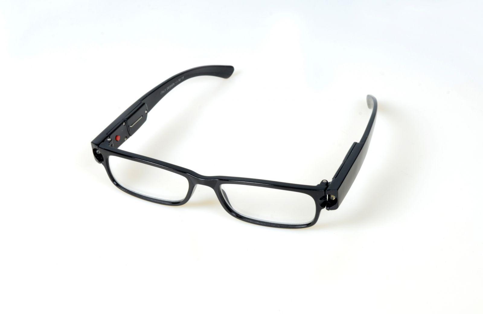 Dioptrické brýle se světýlkama +3,00 černé obruby E-batoh