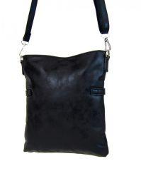 Elegantní malá dámská crossbody kabelka 16216 černá s šedostříbrnou patinou Tapple E-batoh