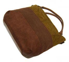 Kávově hnědá dámská kabelka s pruhy AE-0903 New Berry E-batoh