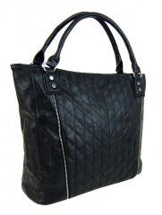 Moderní velká černá dámská prošívaná kabelka přes rameno YH1651