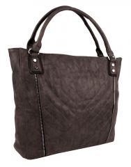 Moderní velká kávově hnědá dámská prošívaná kabelka přes rameno YH1651