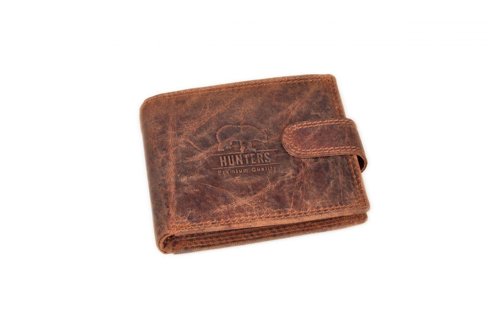 Peněženka pánská 304 HUNTERS tabaková v krabičce na patent