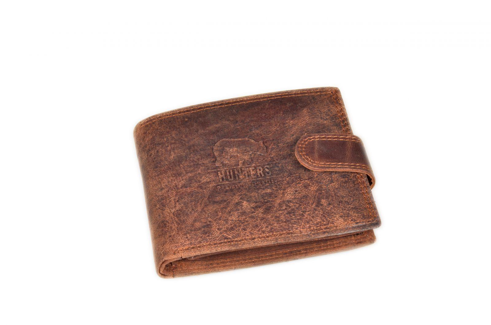 Peněženka pánská HUNTERS 324 tabáková v krabičce na patent