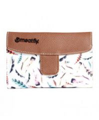 PĚNĚŽENKA MEATFLY MADELINE WALLET C - BROWN, FEATHER PRINT