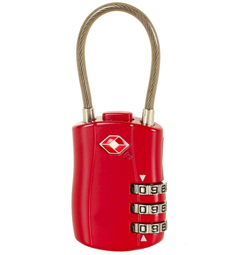 Bezpečnostní lankový TSA kódový zámek ROCK TA-0004 - vínová E-batoh