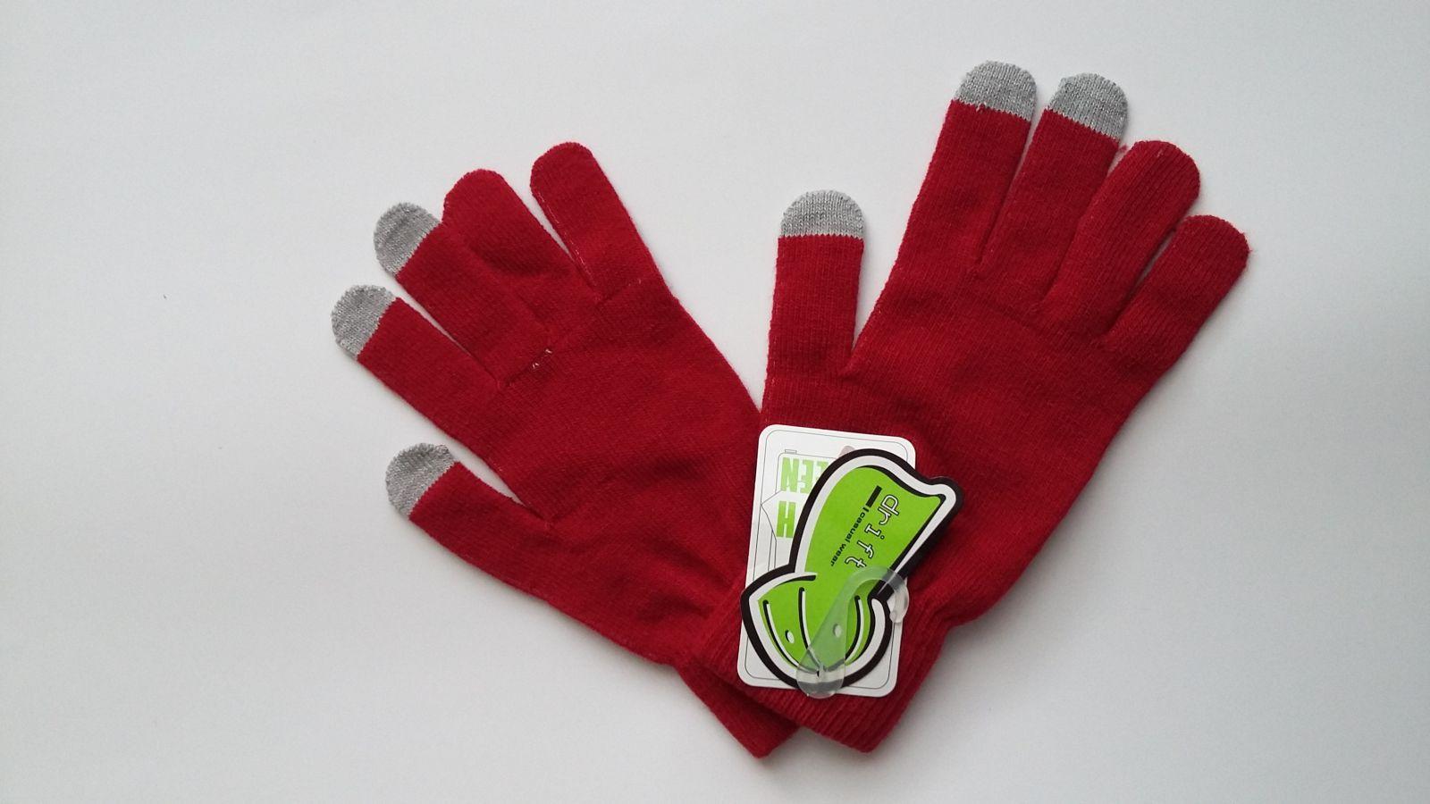 Rukavice na dotykový telefon - červené DRU13 E-batoh