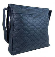 Velká modrá crossbody kabelka z broušené kůže 613-3
