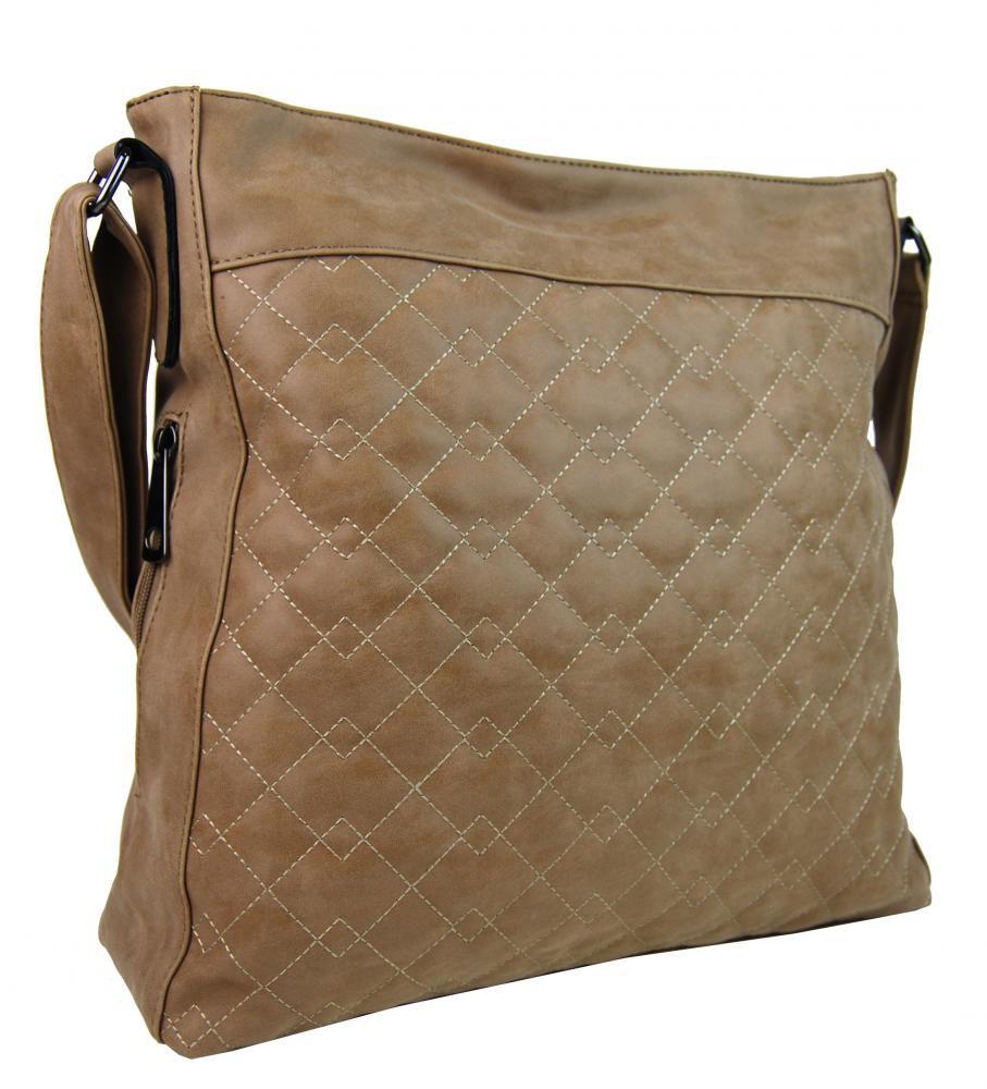 Velká přírodně hnědá crossbody kabelka z broušené kůže 613-3