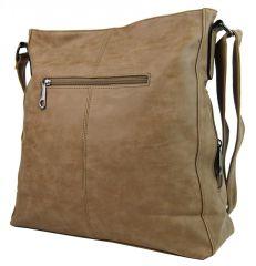 Velká přírodně hnědá crossbody kabelka z broušené kůže 613-3 Tapple E-batoh