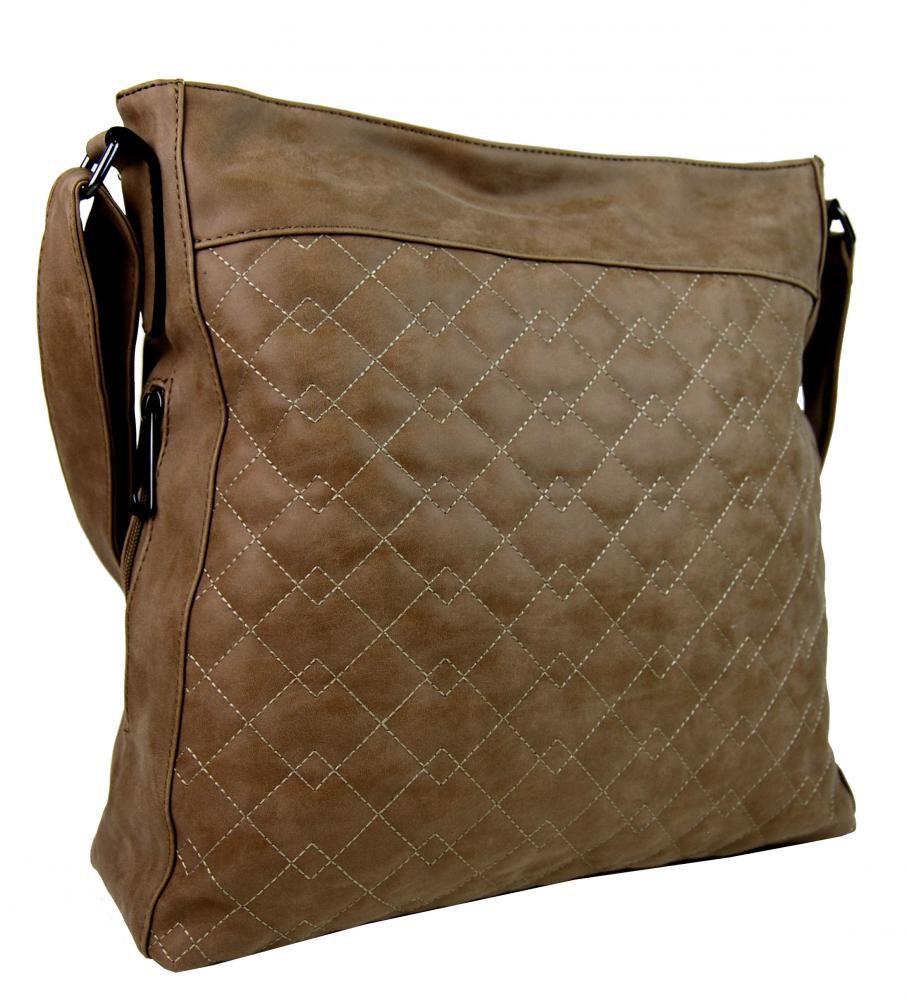 Velká tmavě hnědá crossbody kabelka z broušené kůže 613-3 Tapple E-batoh 1c0767a299