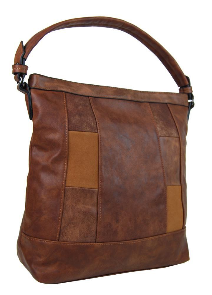 Elegantní kombinovaná dámská kabelka se vzorem NH6071 hnědá
