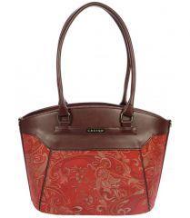 Červeno-bordová kabelka na rameno s etnickým vzorem S720 GROSSO