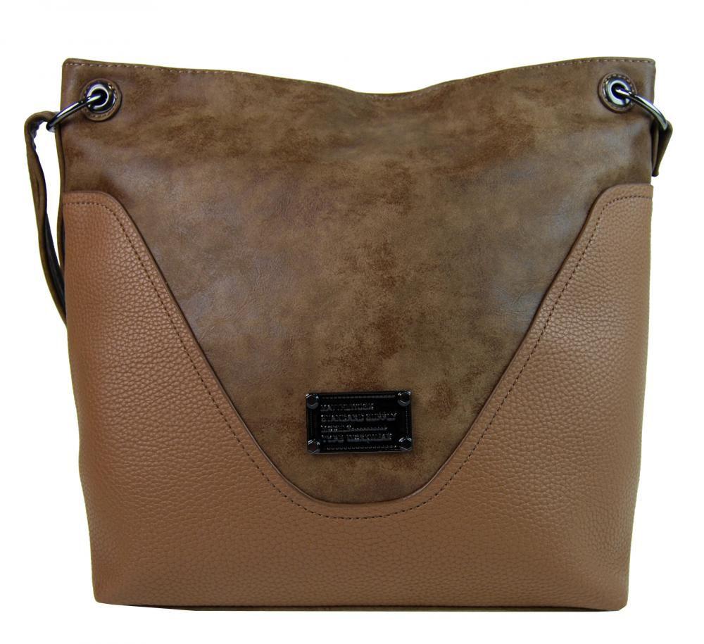 Velká dámská crossbody kabelka 2467-BB hnědá camel