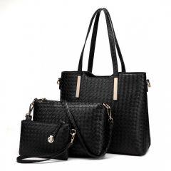 Praktický lakovaný dámský kabelkový set 3v1 Miss Lulu černá