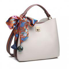 Menší šedo-růžová kabelka do ruky s dekoratívním šátkem Miss Lulu