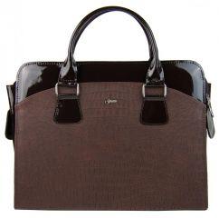"""Dámská luxusní taška na notebook hnědý mat / lak kroko ST01 15.6"""" GROSSO"""