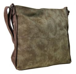 Velká hnědá dámská crossbody kabelka s khaki nádechem H17151