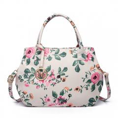 Nadčasová béžová matná kabelka s květinami Miss Lulu