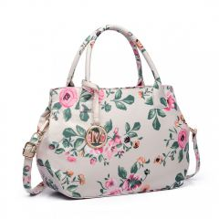 Nadčasová béžová matná kabelka s květinami Miss Lulu Lulu Bags (Anglie) E-batoh