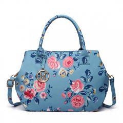 Nadčasová modrá matná kabelka s květinami Miss Lulu