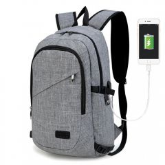 KONO šedý moderní elegantní batoh s USB portem UNISEX