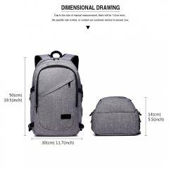 KONO šedý moderní elegantní batoh s USB portem UNISEX E-batoh 5afbd88f3d