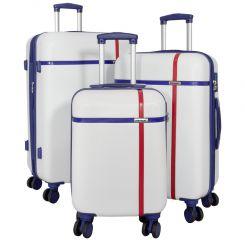 Cestovní kufry ABS sada MONOPOL  L,M,S bílá