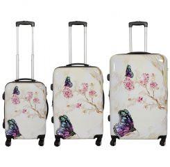 Cestovní kufry sada Motýl na kytce L,M,S