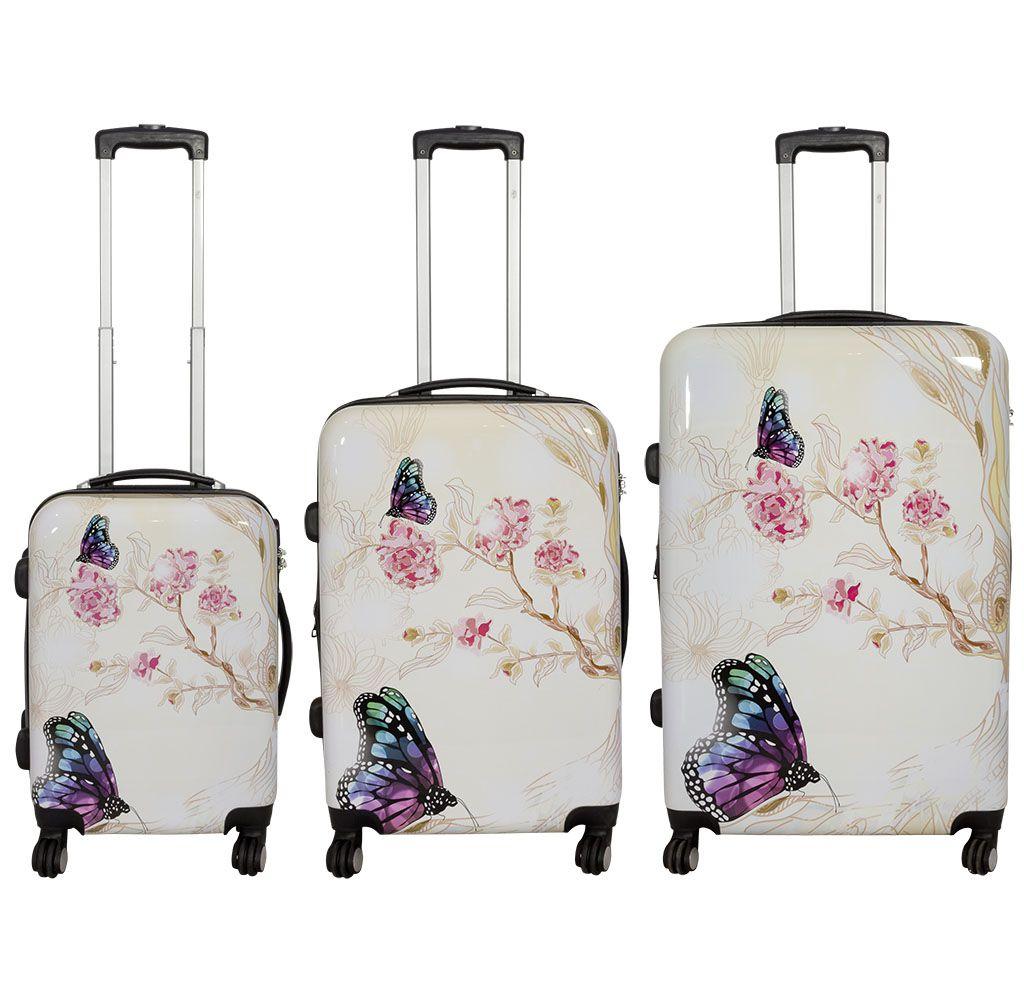 Cestovní skořepinové kufry sada Motýl na kytce L,M,S