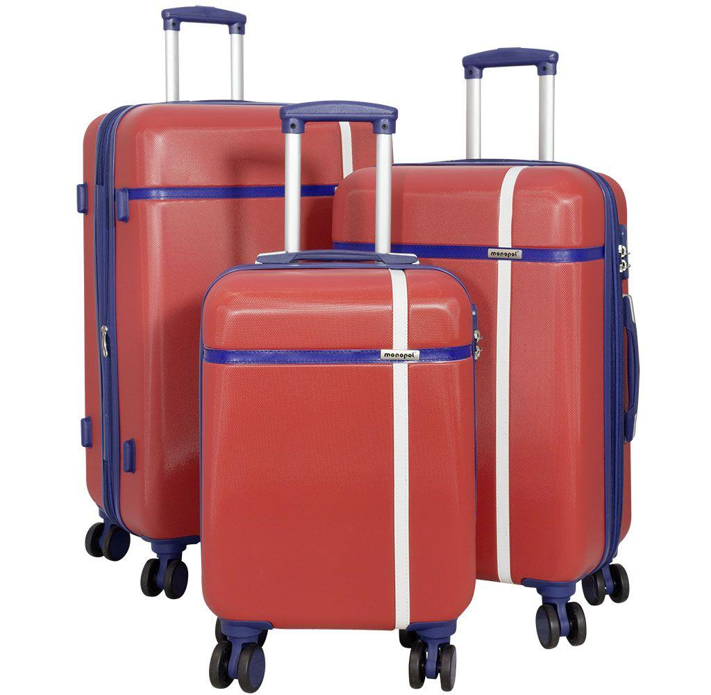 Cestovní kufr ABS BERGEN střední M červený MONOPOL E-batoh