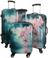 Cestovní kufry sada ORCHIDEJE  L,M,S