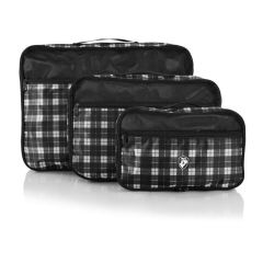 Heys Exotic Packing Cube Set Black/white plaid – sada 3 ks