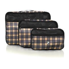 Heys Exotic Packing Cube Set Yellow plaid – sada 3 ks