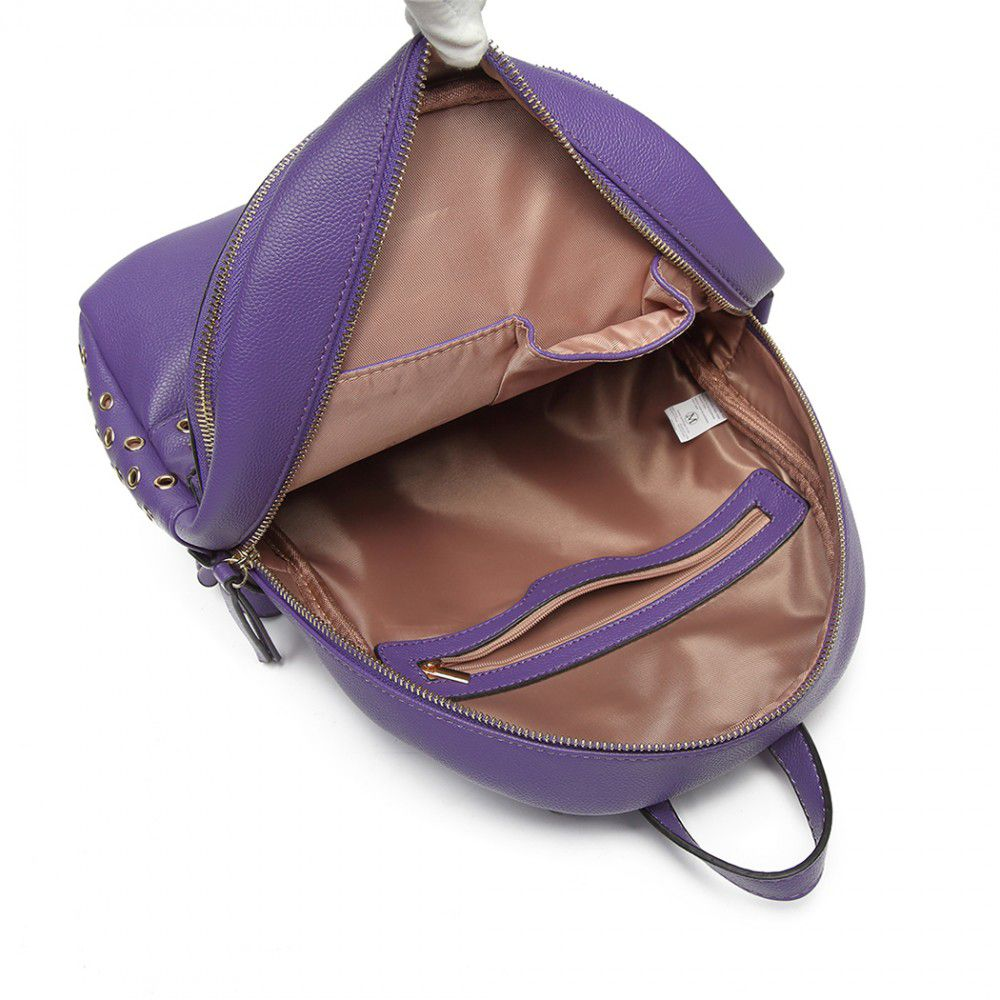 d0f6b352f Fialový dámský stylový batůžek Miss Lulu Lulu Bags (Anglie) E-batoh