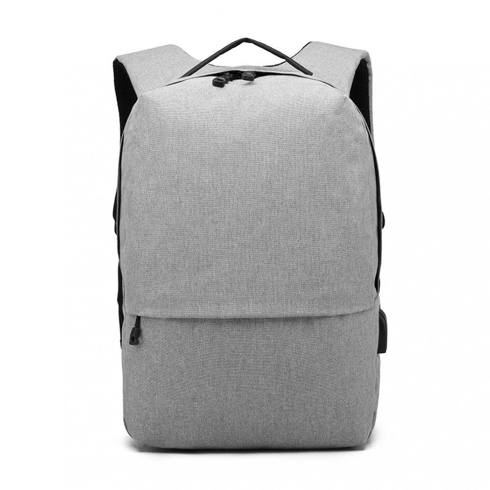 KONO šedý elegantní batoh nepromokavý s USB portem UNISEX E-batoh