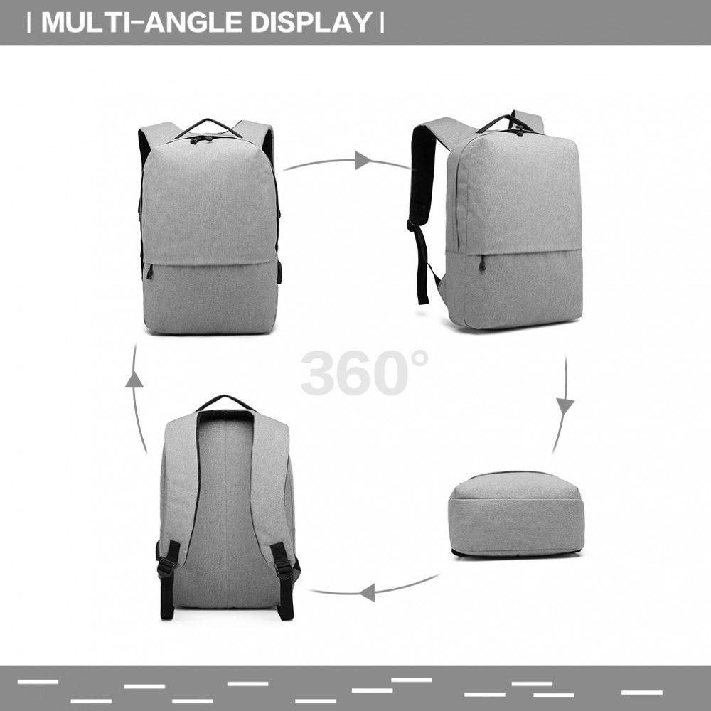 KONO šedý elegantní batoh nepromokavý s USB portem UNISEX E-batoh b2926c81ef