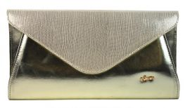Luxusní zlaté dámské psaníčko v hadí kůži SP126 GROSSO
